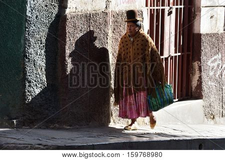 LA PAZ BOLIVIA - August 25 2016: Unidentified women in street of La Paz Bolivia on August 25 2016. La Paz in Bolivia is the highest administrative capital in the world