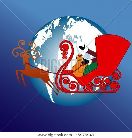 santa over the world in his sleigh