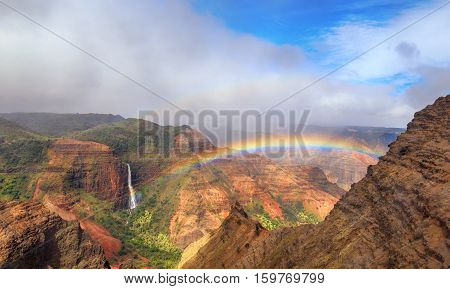 Rainbow over Waimea Canyon in Kauai, Hawaii