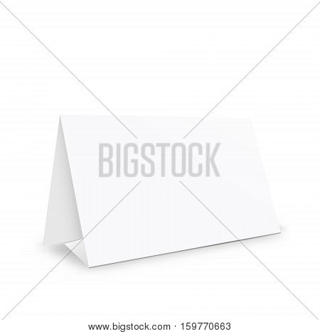 Blank white paper stand holder empty table holder object realistic 3d vector illustration on white background eps 10