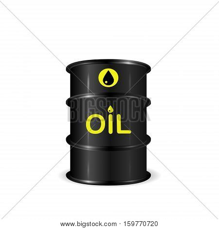 Single realistic oil barrel realistic 3d vector illustration isolated on white background eps 10
