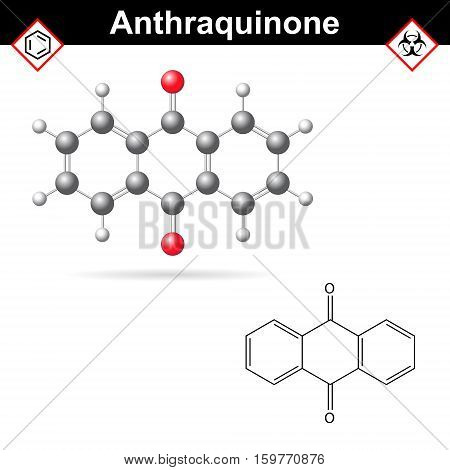 Anthraquinone chemical structure quinone class scientific vector 2d and 3d illustration isolated on white background eps 10