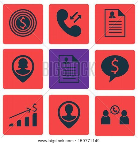 Set Of 9 Management Icons. Can Be Used For Web, Mobile, UI And Infographic Design. Includes Elements Such As Growth, Money, Pin And More.
