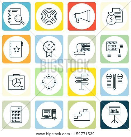Set Of 16 Project Management Icons. Can Be Used For Web, Mobile, UI And Infographic Design. Includes Elements Such As Award, Personality, Money And More.