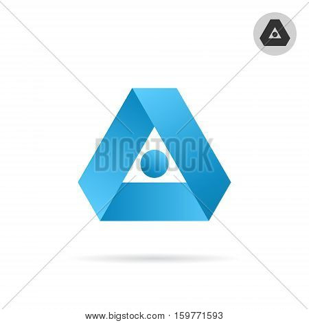 Delta letter icon triangle shape in ribbon style 3d vector illustration isolated on white background eps 10