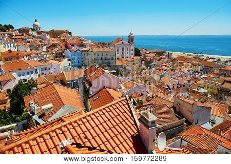 Aerial Scenic View Of Central Lisbon