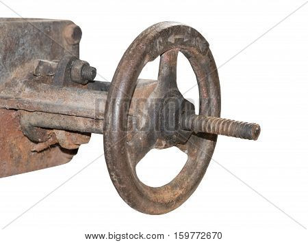 the old metal pipe with valve on white background