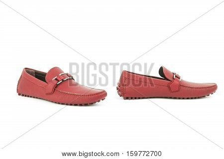 Red Leather Loafers Isolated On White Background