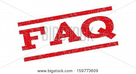 FAQ watermark stamp. Text tag between parallel lines with grunge design style. Rubber seal stamp with scratched texture. Vector red color ink imprint on a white background.