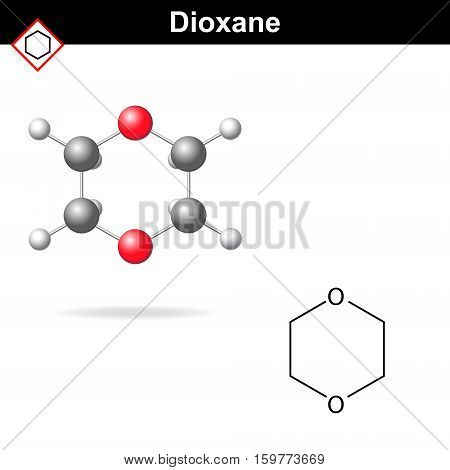 Molecular chemical formula and model of dioxane molecule 2d and 3d vector illustration isolated on white eps 10