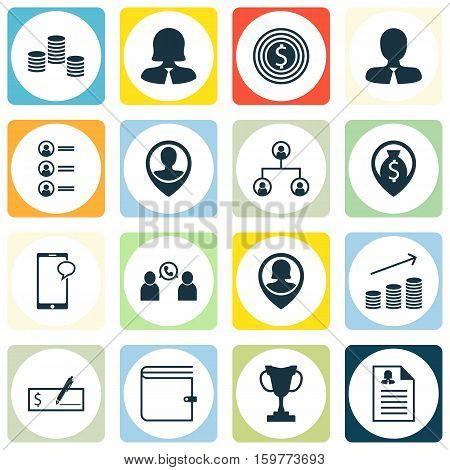 Set Of 16 Management Icons. Can Be Used For Web, Mobile, UI And Infographic Design. Includes Elements Such As Pin, Applicants, Trophy And More.