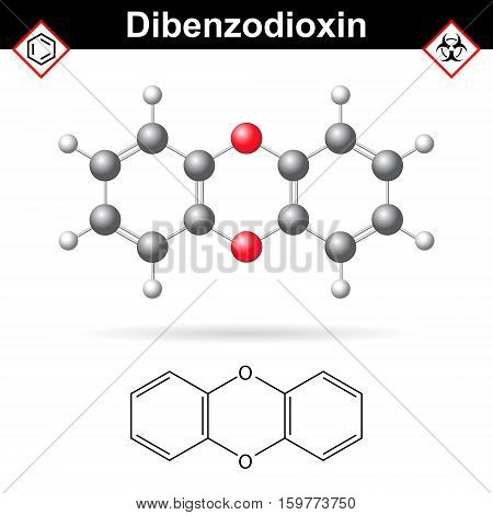14- Dibenzodioxine polycyclic heterocyclic organic chemical substance molecular chemical structure and formula 2d and 3d vector illustration isolated on white background eps 10