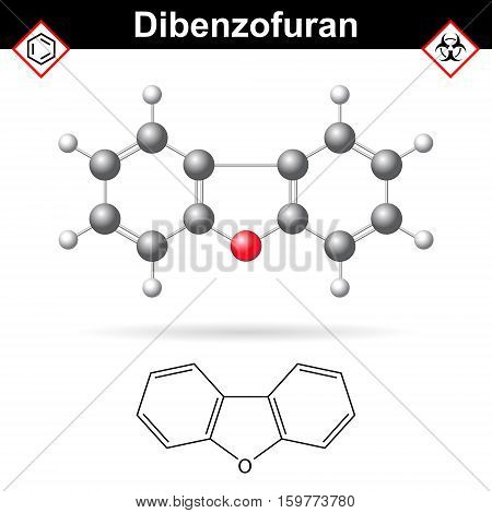 Dibenzofuran aromatic chemical compound molecular chemical structure and formula 2d and 3d scientific vector illustration isolated on white background eps 10