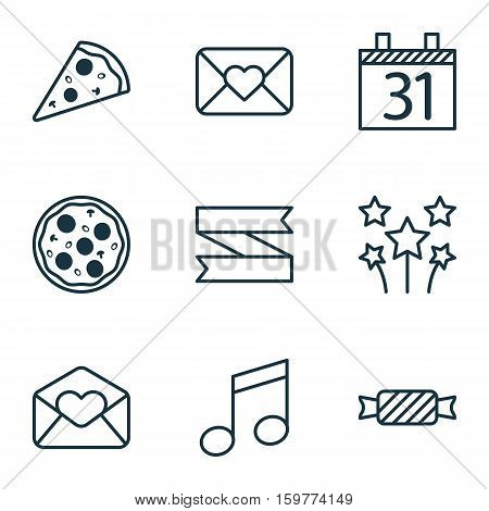Set Of 9 Happy New Year Icons. Can Be Used For Web, Mobile, UI And Infographic Design. Includes Elements Such As Meal, Blank, Pizza And More.