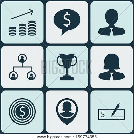Set Of 9 Management Icons. Can Be Used For Web, Mobile, UI And Infographic Design. Includes Elements Such As Goal, User, Tree And More.
