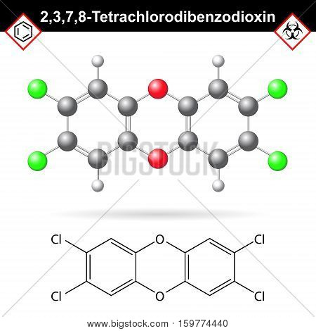 2378- Dibenzodioxin - widespread environmental pollutant dioxine class of chemical polychlorinated toxic and dangerous synthetic toxicant 2d and 3d vector illustration isolated on white background eps 10