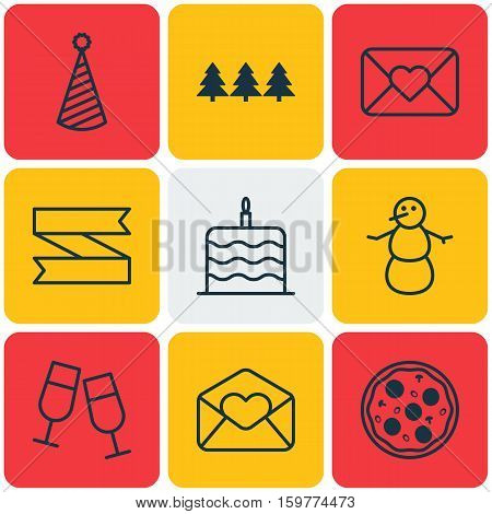 Set Of 9 Holiday Icons. Can Be Used For Web, Mobile, UI And Infographic Design. Includes Elements Such As Christmas, Pizzeria, Celebrating And More.