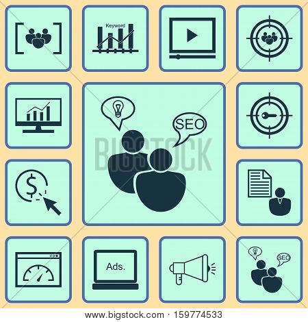 Set Of 12 Advertising Icons. Can Be Used For Web, Mobile, UI And Infographic Design. Includes Elements Such As Research, Businessman, Audience And More.