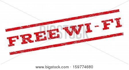 Free Wi-Fi watermark stamp. Text tag between parallel lines with grunge design style. Rubber seal stamp with dust texture. Vector red color ink imprint on a white background.