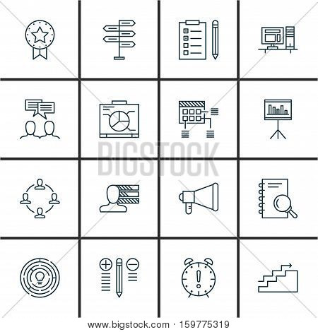 Set Of 16 Project Management Icons. Can Be Used For Web, Mobile, UI And Infographic Design. Includes Elements Such As Date, Team, Personality And More.
