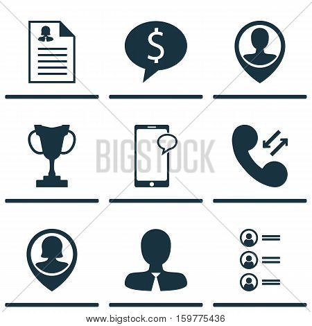 Set Of 9 Hr Icons. Can Be Used For Web, Mobile, UI And Infographic Design. Includes Elements Such As Discussion, Applicants, Application And More.
