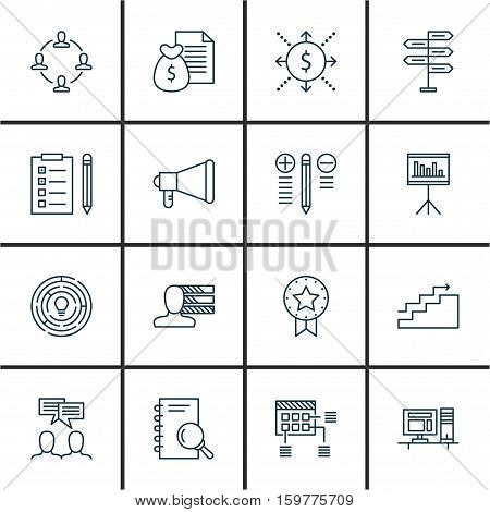 Set Of 16 Project Management Icons. Can Be Used For Web, Mobile, UI And Infographic Design. Includes Elements Such As Promotion, Workspace, Computer And More.
