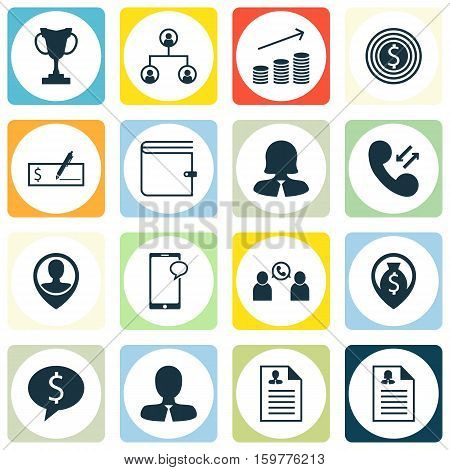 Set Of 16 Human Resources Icons. Can Be Used For Web, Mobile, UI And Infographic Design. Includes Elements Such As Career, Increase, Application And More.
