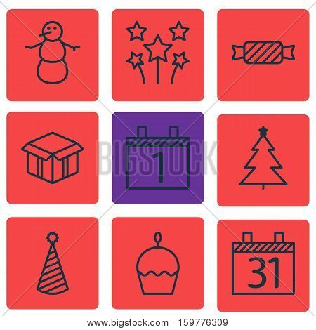 Set Of 9 New Year Icons. Can Be Used For Web, Mobile, UI And Infographic Design. Includes Elements Such As Celebration, Cupcake, Birthday And More.