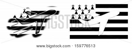Nation Flag - Airplane Isolated - Brittany