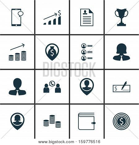 Set Of 16 Human Resources Icons. Can Be Used For Web, Mobile, UI And Infographic Design. Includes Elements Such As Male, Applicants, Pin And More.