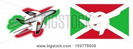 Nation Flag - Airplane Isolated - Burundi