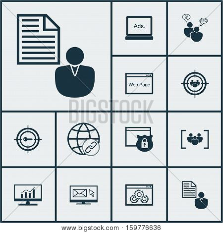 Set Of 12 Advertising Icons. Can Be Used For Web, Mobile, UI And Infographic Design. Includes Elements Such As Keyword, Web, Link And More.
