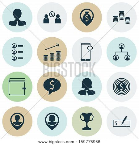 Set Of 16 Human Resources Icons. Can Be Used For Web, Mobile, UI And Infographic Design. Includes Elements Such As Bank, Profile, Trophy And More.
