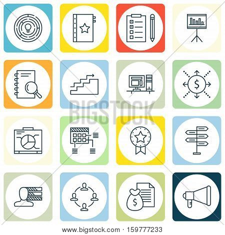 Set Of 16 Project Management Icons. Can Be Used For Web, Mobile, UI And Infographic Design. Includes Elements Such As Making, Statistics, Money And More.
