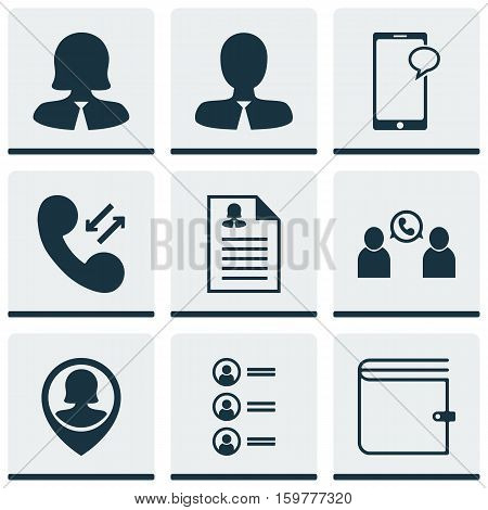 Set Of 9 Human Resources Icons. Can Be Used For Web, Mobile, UI And Infographic Design. Includes Elements Such As Employee, User, Applicants And More.