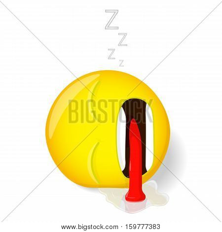 Sleeping emoji. Emotion of tiredness. Emoticon lies with his tongue hanging out and the current from his mouth saliva. Cartoon style. Vector illustration smile icon.