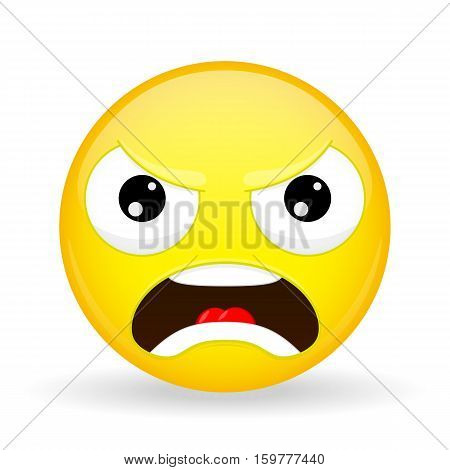 Angry emoji. Emotion of anger. Evil emoticon. Cartoon style. Vector illustration smile icon.