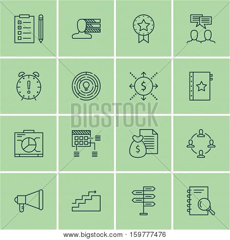 Set Of 16 Project Management Icons. Can Be Used For Web, Mobile, UI And Infographic Design. Includes Elements Such As Brainstorming, Announcement, Team And More.