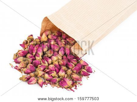 Dried rosebuds and bag