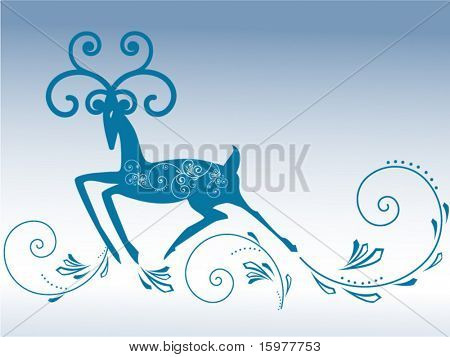 reindeer with calligraphy coil