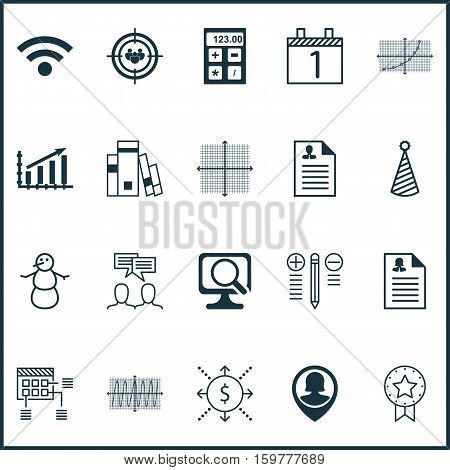 Set Of 20 Universal Editable Icons. Can Be Used For Web, Mobile And App Design. Includes Elements Such As Schedule, Decision Making, Focus Group And More.