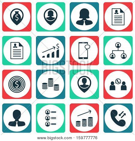 Set Of 16 Human Resources Icons. Can Be Used For Web, Mobile, UI And Infographic Design. Includes Elements Such As Call, Success, Mobile And More.