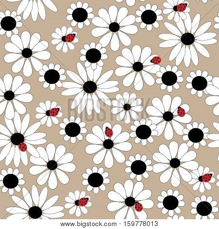 Flower Seamless Pattern With Daisies And Ladybirds