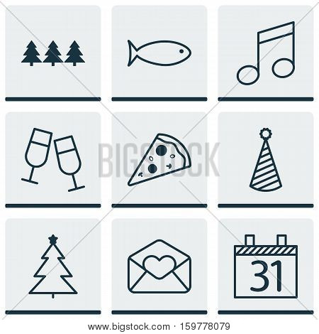 Set Of 9 Holiday Icons. Can Be Used For Web, Mobile, UI And Infographic Design. Includes Elements Such As Note, Clink, Glasses And More.