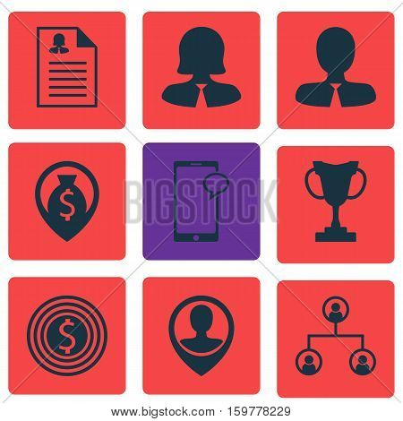 Set Of 9 Human Resources Icons. Can Be Used For Web, Mobile, UI And Infographic Design. Includes Elements Such As Application, Money, Goal And More.