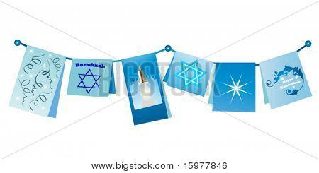 Hanukkah cards on a string