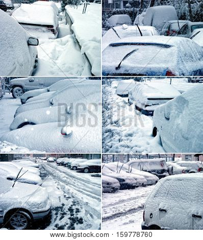 parked cars covered with snow during snowing in winter time