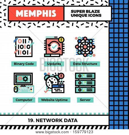 Network Data Neo Memphis Icons