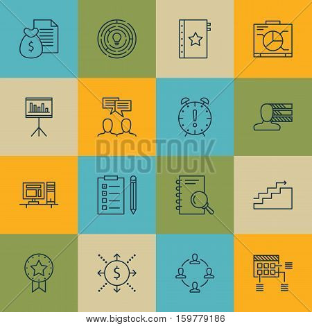 Set Of 16 Project Management Icons. Can Be Used For Web, Mobile, UI And Infographic Design. Includes Elements Such As Notebook, Teamwork, Statistics And More.