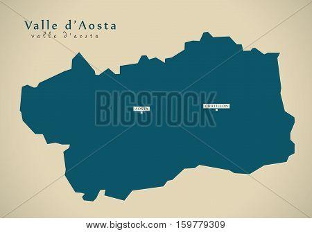 Modern Map - Valle d Aosta IT Italy illustration